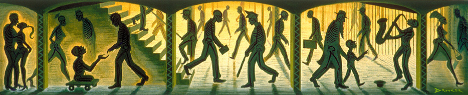 A painting of people walking underground.